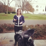 Roberts hard at work at a CBS live shoot on the White House grounds.