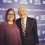"Roberts got to work on CBS' ""Face the Nation"" and met host Bob Schieffer."