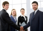 Group of businesspeople. Businessman shaking hands.