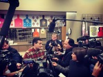 Here I am on Ted Cruz's right during a press gaggle following a campaign event at a shooting range in December.